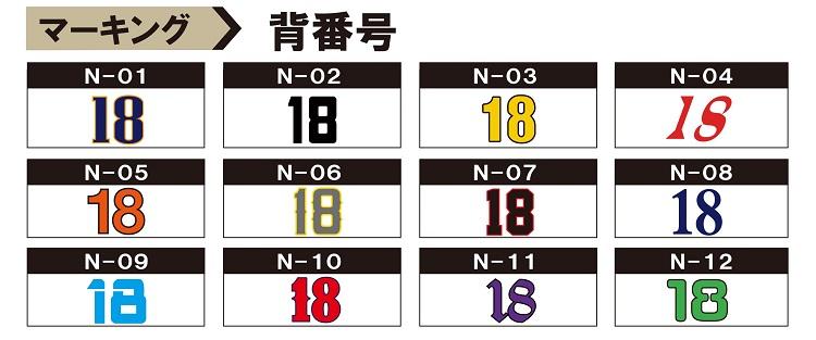 野球チームロゴ 背番号マーキング参考画像