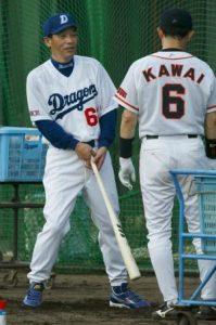 野球ユニフォーム パンツ ロングスタイル画像 落合選手